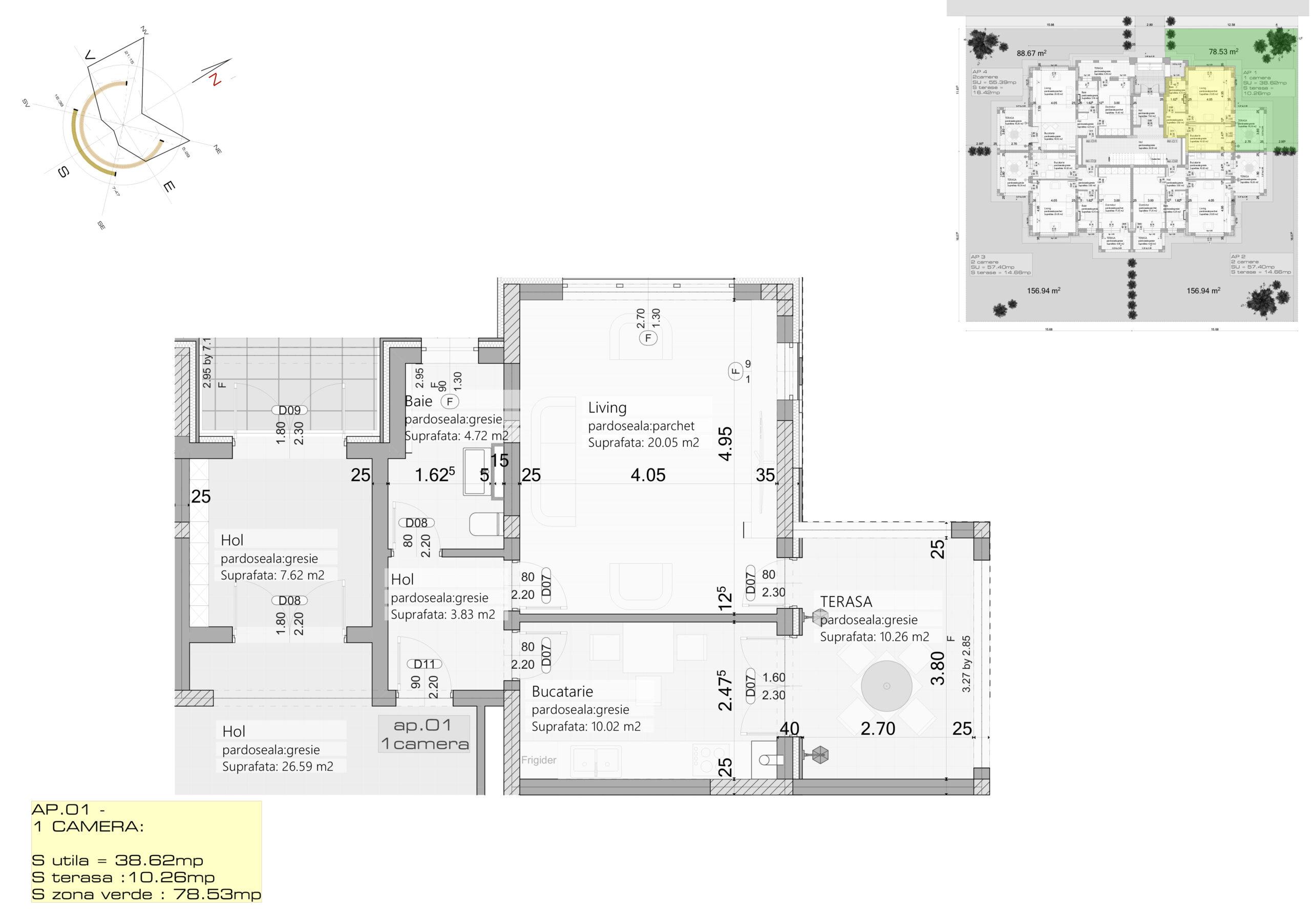 Apartament 1 – Parter – 1 camera