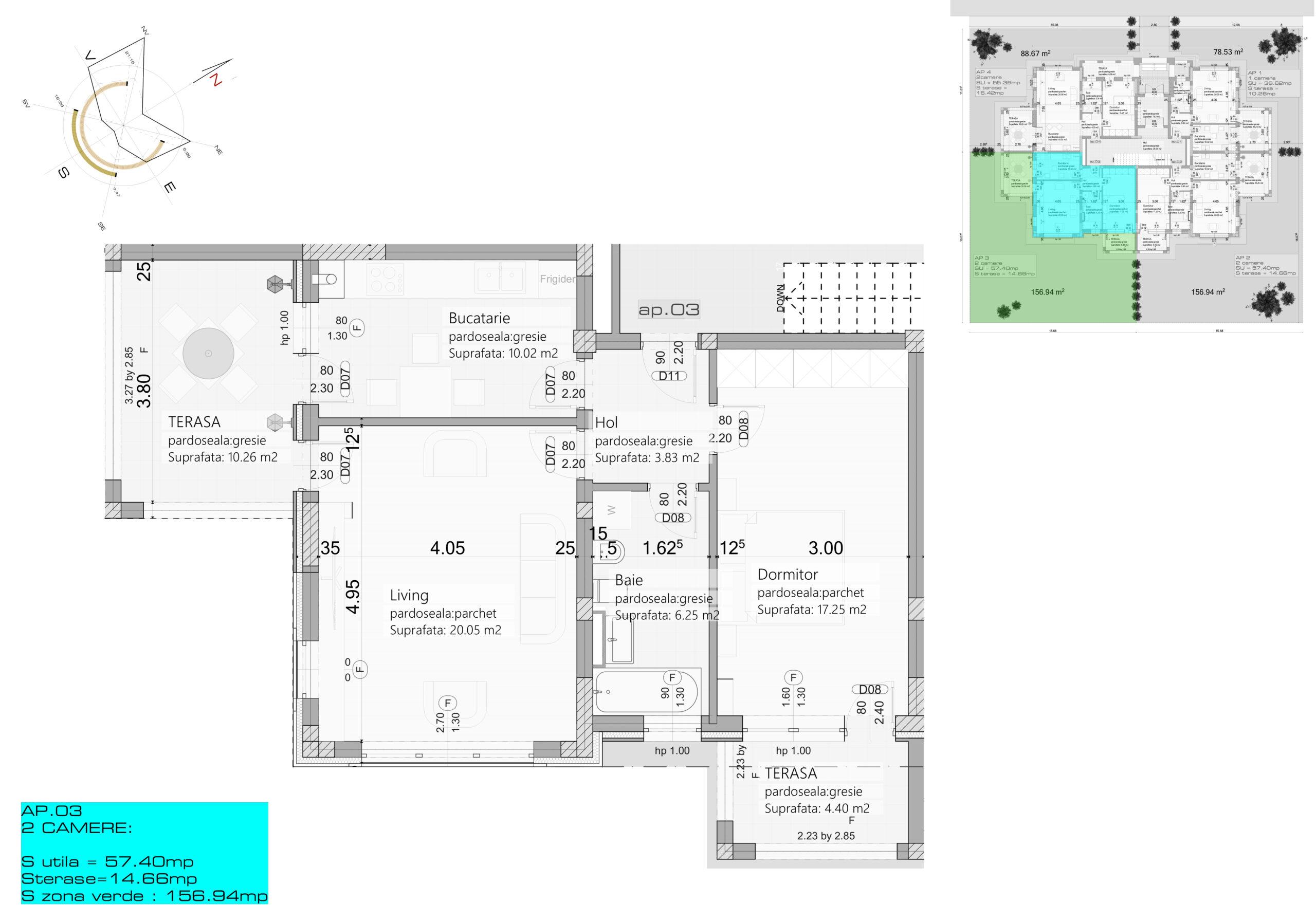 Apartament 3 – Parter – 2 camere