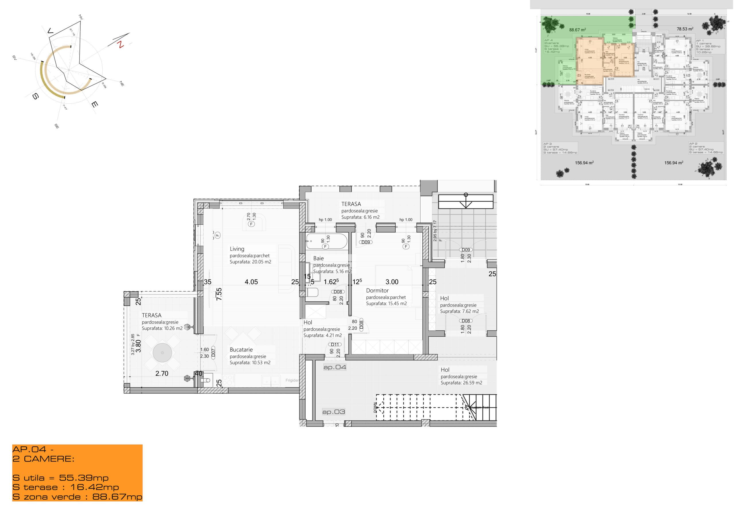 Apartament 4 – Parter – 2 camere